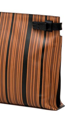LOEWE Spring Summer 2015 Large Pouch by Jonathan Anderson. Hand-screened vintage brown and black stripe print featuring a straightforward notched silhouette.