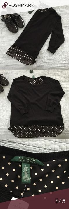 NWT Ralph Lauren sweater Brand new with tags black with polka dot pattern sweater original price 98$ size large cotton and modal blend Ralph Lauren Tops Tees - Long Sleeve