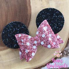 Glitter Miss Minnie Mouse Girls Hair Bow Minnie Ears Glitter Hair Accessories