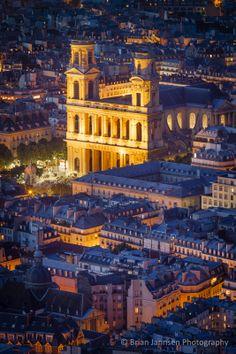 Overhead view of Eglise Saint Sulpice, Saint Germain-des-Pres, Paris France. © Brian Jannsen Photography