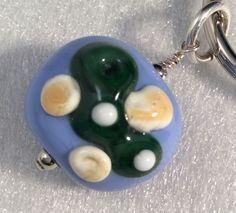 Golf Key Ring, Lampwork Glass Key Ring, Golfers Key Chain, Golf Green, Key Ring by ASplashOGlass on Etsy