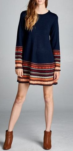 Knit Laurel Sweater, outfit just needs leggings..pull color from the sweater..scarf.. knee highs boots for winter