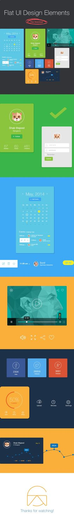 Free useful Flat UI Design Elements for the designers that can easily adapt to fit the needs of your design project.Come with plenty of useful element like social profile, calendar, login form, video player and others.This UI kit is free to download, #8230;