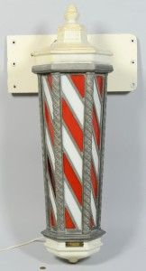 Lot 603: Koken Lighted Barber Pole - Image 1 - to bid online, visit our catalog at http://www.liveauctioneers.com/catalog/49503_winter-fine-art-and-antiques-auction/page31?rows=20