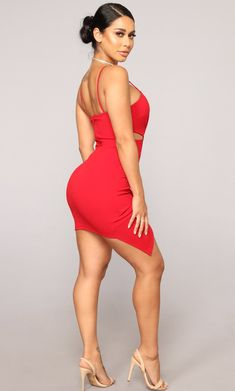 Available In RedSpaghetti StrapsPadded BraBack ZipperRuched Side lengthSelf: Polyester; Fashion Nova Models, Curvy Women Fashion, Red Fashion, Girl Fashion, Female Fashion, Hot Dress, Dress Red, Girls Blue Dress, Little Red Dress