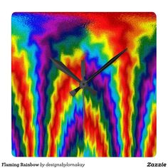 Flaming Rainbow Square Wallclocks