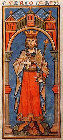 Konrad III.; Miniatur aus der Kölner Königschronik, 13. Jahrhundert, Königliche Bibliothek Belgiens, Brüssel