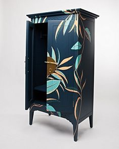 Navy Blue Furniture, Floral Furniture, Painted Furniture, Furniture Painting Techniques, Business Furniture, Hanging Rail, Dining Decor, Creative Decor, Decoration