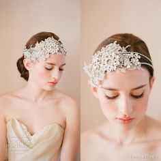 We love these gorgeous bridal hair accessories from Twigs & Honey 2012 collection. Above, oversized rhinestone headpiece with embroided with lace flowers Bridal Veils And Headpieces, Bridal Tiara, Headpiece Wedding, Bridal Updo, Fascinators, Wedding Hats, Wedding Veils, Wedding Ideas, Wedding Stuff