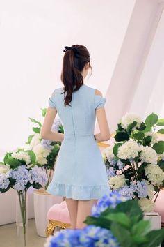 Korean fashion round neck strapless flounced short-sleeved dress - AddOneClothing - 4