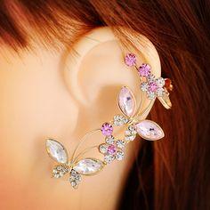 Nuevo cristal rhinestone de la mariposa del Insecto rose ear cuff pendiente de clip de alta calidad de joyería de moda regalo para las mujeres chica E2484