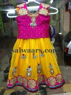 Stone Work Yellow Pink Lehenga - Indian Dresses