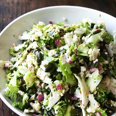 Anyone who thinks salads are boring needs to try this explosion of tastes and textures. It's crisp (broccoli and cauliflower), crunchy and nutty (pepitas and sesame seeds), spicy (jalapeno), and soft and sweet (dates). Add it all up, and you've got amazingness.