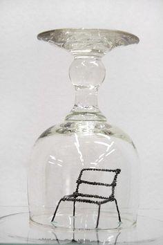 Claudia Maina  Bedbug Eyes n° 1 bis_2012    Bicchieri di vetro, Omini di legno, filo di ferro, occhio in vetro di bambola  12 x 12 x 65 cm