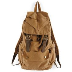 Unisex washed water canvas backpack with brown nubuck leather trims  Bag Cover, no solid pattern, military green and khaki color, one front pockets with snap fastenings, interior pocket.  Size:H48cm×W30cm×D15cm.  This durable, functional canvas bacpack is ideal for the demands of a busy day.