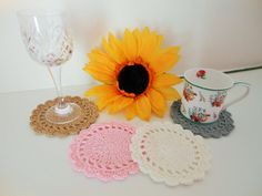 Crochet coaster gift home accessory vintage by Justbabydelights