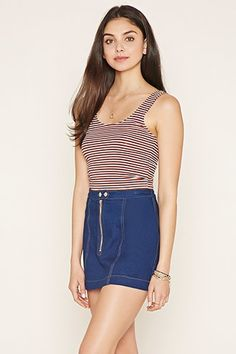 Buy it now. FOREVER21 Women's  Cream & Navy Striped Crop Top. details A sleeveless crop top crafted from a stretch knit with stripes. Content + Care - 50% rayon, 46% cotton, 4% spandex- Machine wash cold- Made in China Size + Fit - Model is 5'10%22 and wearing a Small- Full length: 16.25%22- Chest: 25%22- Waist: 24.5%22 , topcorto, croptops, croptops, croptop, topcrop, topscrops, cropped, bailarina, topbailarina, corto, camisolacorta, topcortoestilobandeau, crop, bralet, strappybralet…