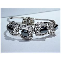 Sorrento Hematite Clamper Bracelet Mid Century 1960s 60s Italy Italian... (105 CAD) ❤ liked on Polyvore featuring jewelry, bracelets, cuff bangle, sterling silver cuff bangle, hematite jewelry, sterling silver filigree jewelry and sterling silver bangles
