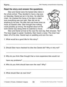 Short Story with Comprehension Questions (Reading Skills) 3rd Grade Reading Comprehension Worksheets, Reading Comprehension Passages, Reading Worksheets, Reading Fluency, Comprehension Questions, Reading Skills, Teaching Reading, Pronoun Worksheets, Learning