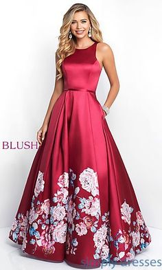 Shop long prom ball gowns at Simply Dresses. Blush prom dresses and floral-print prom dresses with open backs, scoop necks and long full skirts. Blush Prom Dress, Blush Dresses, Elegant Dresses, Pretty Dresses, Beautiful Dresses, Dance Dresses, Formal Gowns, Women's Fashion Dresses, Homecoming Dresses