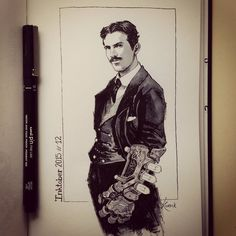 Inspiration can come from anywhere. Yesterday I saw a portrait of inventor Nikola Tesla and immediately he reminded me some sort of ancient Tony Stark. And... voilà! Tesla for Inktober 12. #ink #inktober #inktober2GO #inktober2015 #inktober2015day12 #drawing #sketch #sketchbook #art #artwork by koveck
