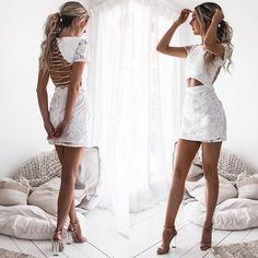 long prom dresses - 2018 Popular White Lace Homecoming Dresses,Sexy Backless Homecoming Dresses from SofieDress Backless Homecoming Dresses, Two Piece Homecoming Dress, Hoco Dresses, Sexy Dresses, Cute Dresses, Evening Dresses, Dress Outfits, Fashion Dresses, Backless Dresses