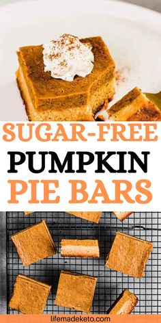 These are the best sugar free pumpkin pie bars I've ever had! They are made with sugar free and low carb ingredients. Low carb and sugar free, these pumpkin pie bars will be your go-to this fall. | healthy fall desserts | easy pumpkin pie bars | sugar free desserts | sugar free pumpkin bars | low carb desserts | low carb pumpkin dessert recipes | healthy fall recipes #sugarfree #pumpkinpie #pumpkinbar #lowcarb #healthydessert Low Sugar Cookies, Low Sugar Snacks, Low Sugar Desserts, Low Carb Desserts, Keto Snacks, Healthy Desserts, Keto Dessert Easy, Fall Dessert Recipes, Fall Desserts