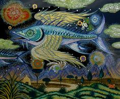Wing Fish by Mitsura Nagashima. Hind Glass Painting Acrylic and Oil