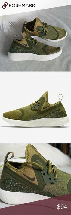 Nike LunarCharge Essential Shoes in Camper Green Brand new without box. The Nike LunarCharge EssentialWomen's Shoe combinesinnovative elements from some of Nike's most popular stylesto create a world-class lifestyle shoe witha smooth, cushioned ride. Textile upper. Slip-on, bootie-style construction delivers a sock-like fit. Lunarlon midsole for a smooth ride. Laser-siped outsole pods for flexibility and multi-surface traction. Pull tab on heel for easy on and off. No trades.   RARE…