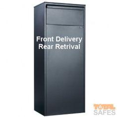Parcel drop box with Rear Retrieval - Black Mail Drop Box, Parcel Drop Box, Security Safe, Smart Home Security, Drop Box Ideas, Apartment Mailboxes, Office Safe, Post Box, Garages