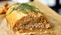 Nigel Slater's Salmon Wellington with cucumber, dill and mustard stuffing