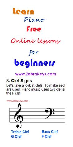 Learn basic music notations: bass clef, treble clef, and how to read music at http://www.zebrakeys.com/lessons/preparation/basicmusicnotation/?id=4