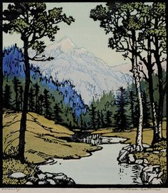 Serenity, 1928 by Frances Hammell Gearhart (b. 1869-1958), Californian artist (occasionally taught by Charles H. Woodbury) known for her colour woodcuts of the Sierras, the Pacific Coast, and the area around Big Bear Lake. She described sentinel trees, groves of eucalyptus, pines, oaks and Monterey cypress as well as valleys and canyons. http://www.francesgearhart.com/ Tags: Helen Elstone, Distance, Trees, Grass, River