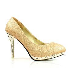 New golden waterproof bridal shoes