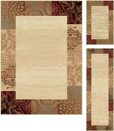 Invoke a sense of tranquility with the natural colors and patterns of this three piece rug set.