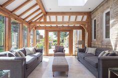 Garden Rooms & Conservatories - Welsh Oak Frame Oak Framed Extensions, Garden Room Extensions, Oak Framed Buildings, Oak Frame House, Exposed Rafters, Bespoke Design, Portfolio Design, Building A House, Pergola