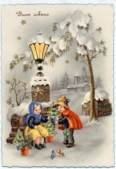 Trees Seller Girl Happy New Year PC Circa 1940 Italy A | eBay