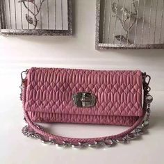 31fc6219470 Miu Miu Crystal Nappa Leather Shouler Bag 5BD233 Pink 2017