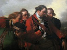 """""""Death of General Wolfe"""" (detail) by Benjamin West (1771) in the Royal Ontario Museum, Toronto - Historians know that many in this painting were not actually with Wolfe when he died; So a lot can be read in who is and isn't here. Case in point, the officer second from the right here is Robert Monckton - the only one of Wolfe's three brigadiers to appear. The other two - Townshend and Murray - were well known for their dislike of Wolfe, but Monckton seems to indicate otherwise here."""