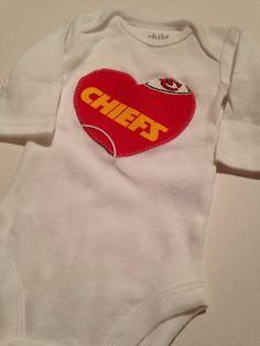 Chiefs Baby Girl Heart Onesie by BrikayDesigns on Etsy, $12.00