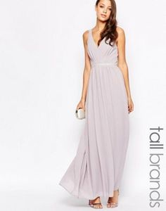 Jarlo Tall V Neck Maxi Dress In Chiffon With Embellished Waist