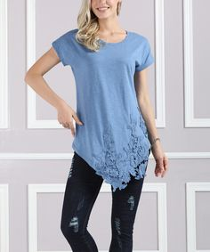 Take a look at this Denim Blue Cap-Sleeve Lace-Trim Asymmetric Tunic - Plus Too today!