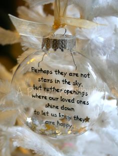 Perhaps They Are Not Stars Floating Ornament-Buy 3 Get 1 Free* Memorial Ornaments, Diy Christmas Ornaments, Christmas Balls, Homemade Christmas, Diy Christmas Gifts, Christmas Projects, Christmas Holidays, Christmas Decorations, Clear Ornaments