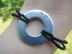 Hand Stamped Be Still Bracelet by FlowYogaDesigns on Etsy, $10.00