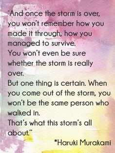 """""""And once the storm is over, you won't remember how you made it through, how you managed to survive. You won't even be sure, whether the storm is really over. But one thing is certain. When you come out of the storm, you won't be the same person who walked in. That's what this storm's all about."""" ― Haruki Murakami"""