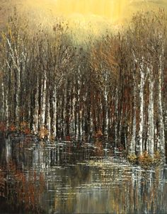 Forest Painting Palette Knife Abstract Landscape by TatianasART