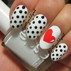 Black & White Polka Dot with Heart Accent
