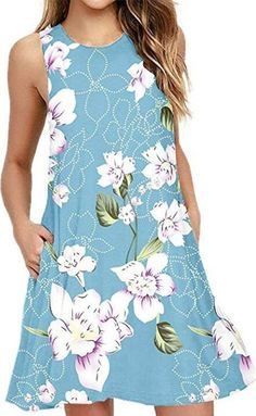 Above Knee Print Sleeveless Pullover Summer Dress Cheap Dresses, Casual Dresses, Fashion Dresses, Summer Dresses, Beach Dresses, Shift Dresses, Fitted Dresses, Women's Fashion, Dresses Dresses