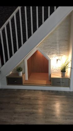 Under stairs dog house Understairs Ideas dog House stairs House, Under Stairs Dog House, Dog Bedroom, Under Stairs, New Homes, Stairs