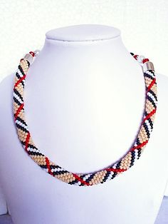 Bead crochet necklace with Burberry pattern by mysweetcrochet, $112.00